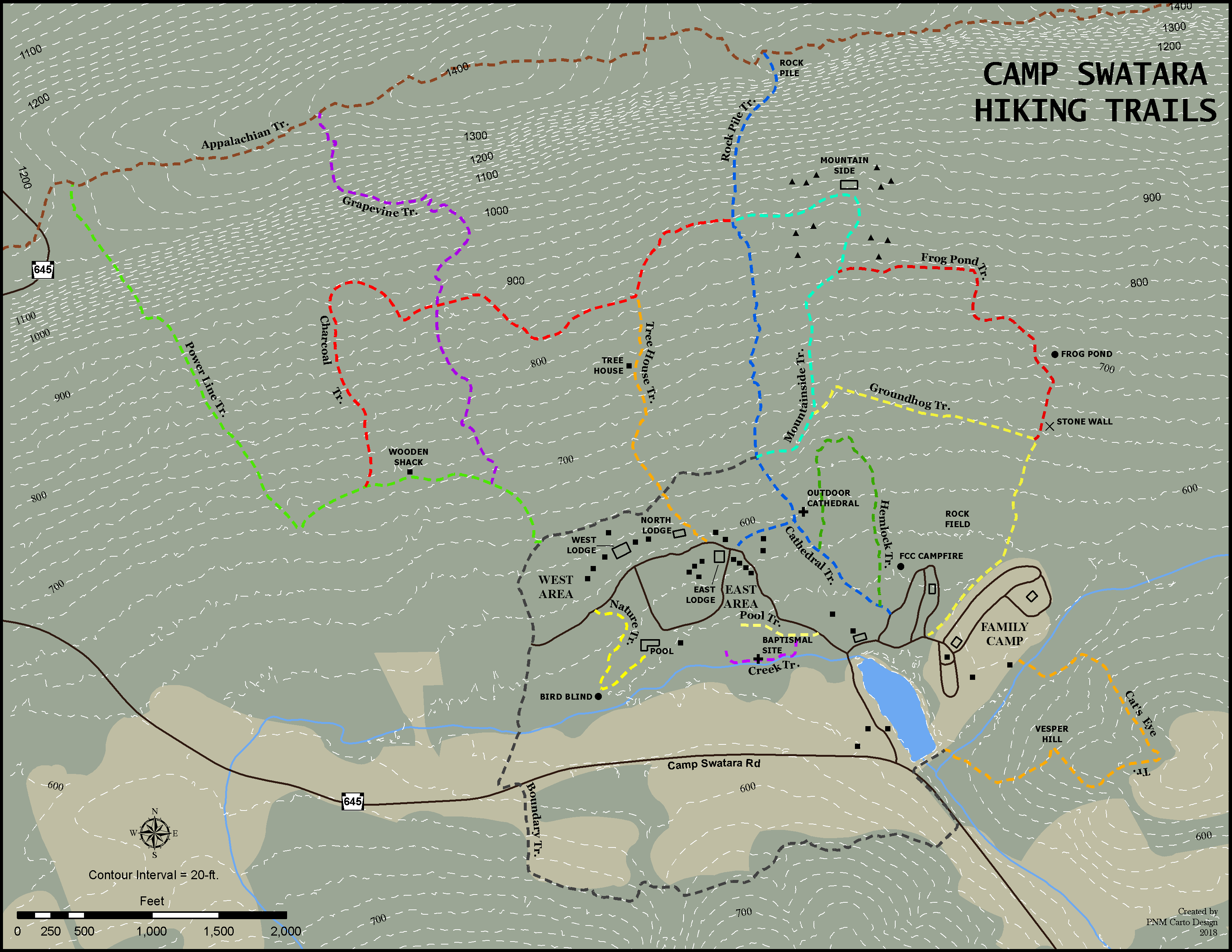 map of the hiking trails at Camp Swatara