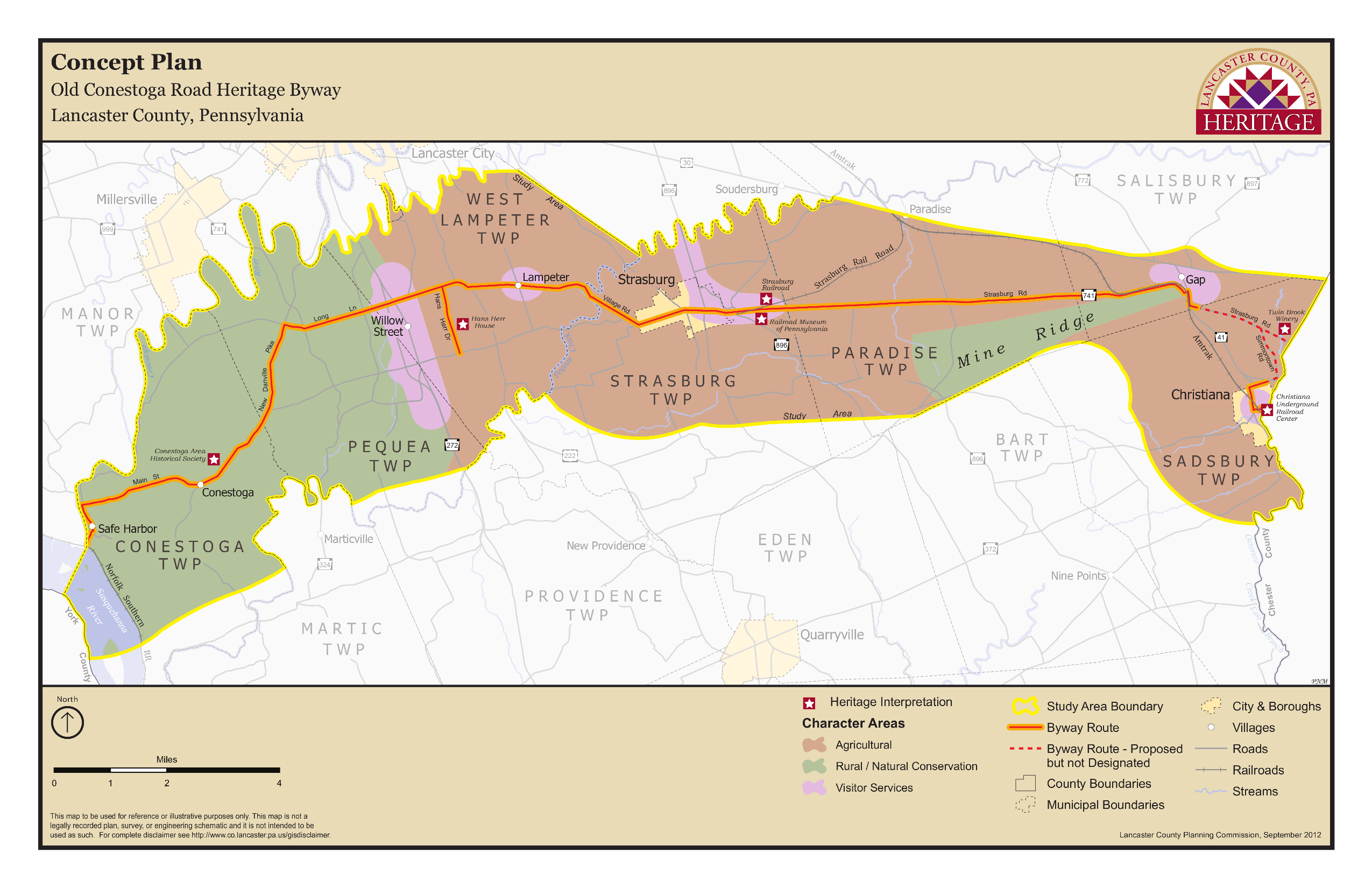 map of the Old Conestoga Road Heritage Byway Concept Plan
