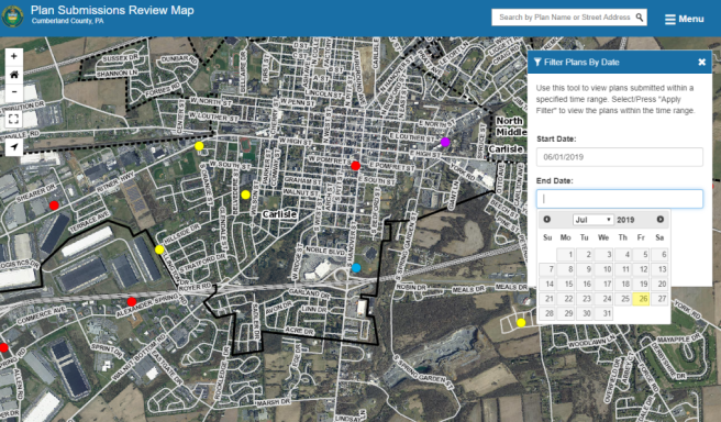 screen shot of a web map app