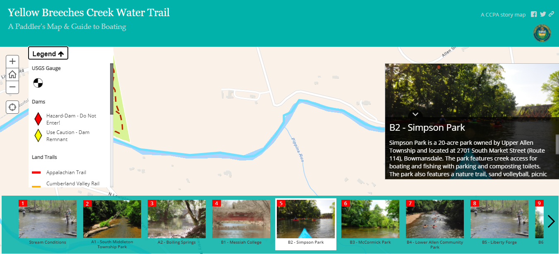 screen shot of a web map app